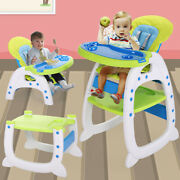3-in-1 Baby Booster High Chair Convertible Infant Play Toddler Feeding Table