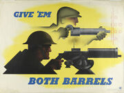 Wwi And Wwii Posters Originals - Wwii 1941 Carlu Give Em Both Barrels