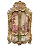 Antique Marseille French Faience Miniature Armoire Or Jewelry Casket Honorandeacute Savy