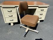 Mcdowell And Craig Vintage Mid Century Tanker Industrial Desk And Chair