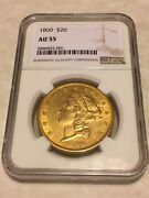 1860 Au55 Ngc Liberty Double Eagle 20 Gold Coin Very Good Eye Appeal No Pcgs