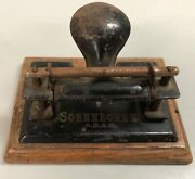 Vintage Soennecken Hole Punch With Wood Base Works Well Vgc