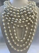 Baroque Pearl And Faceted Crystal Bib Hanging Necklace Bridal Fabulous J13