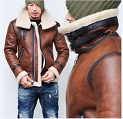 Menand039s Genuine Lamb Fur Lined Jacket Double Fur Collar Buckle Thicken Winter Xmas