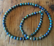 Mood Bead Choker Necklace And Sterling Silver Chain Blue Turquoise Purple Colors