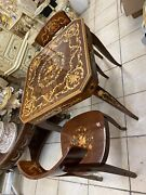 Vintage Italian Wood Inlay Convertible Multi Game Table And 2 Chairs