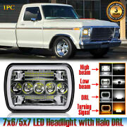 7x6/5x7 Spot Flood Combo Beam Led Headlight With Halo Drl Fit Ford F-150 Ranger