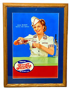 Vtg Pepsi Cola Made Right While You Watch Soda Fountain Girl Framed Art Ad Sign