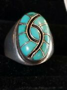 Vintage Dicky And Amy Quandelacy Zuni Tourquoise Sterling Silver Hummingbird Ring