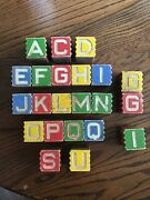 """Antique Wooden 1 5/8"""" Blocks - Alphabet And Pictures Interlocking Baby Toys 22 Pc"""