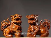 China Padauk Wood Hand Fengshui Animal Carved Guard Foo Dogs Lion Pair Statue