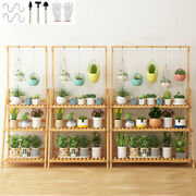 3 Tier Foldable Bamboo Ladder Flower Plant Stand Storage Shelving Hanging Rack