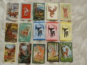23 Vintage 1950s Trading Cards Of Deer, 3 1/2 X 2 1/4 Inches With Blank Backs