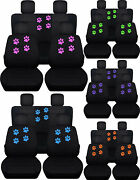 Front + Rear Black Seat Covers Paw Prints Fits Wrangler Jl 2/4dr 2018 Present
