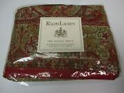 New Randolph Egyptian Cotton Sateen Red Floral Flat Sheet - King
