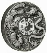 2019 5 Oz Silver 5 Tuvalu Dragon N Pheonix Chinese Mythical Creatures Coin.