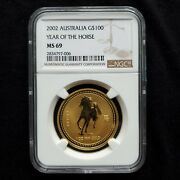 2002 Gold Australia 100 Lunar Year Of The Horse Coin Ngc Mint State 69