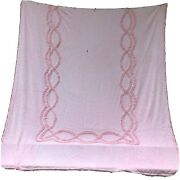 Chenille Bedspread Coverlet Pink Vintage Craft Fabric Cutter 96x89 Full Size