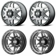 4x Xd130 M-blk Gray F/r Dually Wheels 20 Blk Spline Lugs For Ford F350 05-19