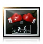 Muhammad Ali And Henry Cooper Signed And Framed Gloves - Full Authenticity