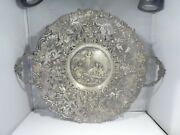 19th C German 800 Silver 2 Handle Charger With Angels And Birds 25.74 T Oz