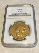 1853 Xf45 Ngc Liberty Double Eagle Type 1 20 Gold Coin Very Nice Coin No Pcgs