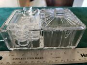 Vintage Pressed Glass Cigarette Box With Cover And 4 Matching Ashtrays