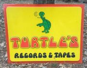 Turtleand039s Music Store Sign Plastic 62.5 X 48 Southern Records Tapes Movies Rare