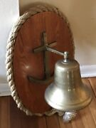 Vintage Solid Brass Ship's Bell W/ Wood Wall Mount Nautical Rope School Dinner