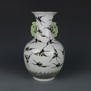11.6 China Antique Porcelain Qing Famille Rose Young Swallow Double Ear Vases