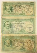 1 X Ww2 Greece Banknote. 50 Drachma. 1939. 3 Different A. Hitler Stamps. V. Rare