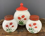 Kitchenware Anchor Hocking Tulip Grease Jar And S And P With Lids