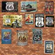 Route 66 Metal Tin Signs Home Poster Classic Wall Vintage Mounted Plaques Decor
