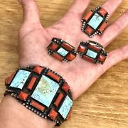 Navajo Mens Turquoise Coral Cuff Ring Cufflink Set Vtg Sterling 155g Cross Old