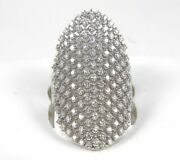 Natural Long Round Diamond Cluster Ladyand039s Ring Band 14k White Gold 1.50ct