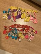 1980's Vintage Bell Clip Charm 2 Necklace Chains +20 Plastic 80's Charms