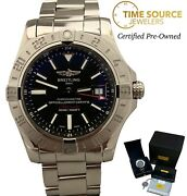 Breitling Avenger Ii Gmt Automatic Stainless Steel A32390 Black Dial 43mm Watch