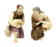 Pair Royal Worcester Porcelain Figurines Man And Woman With Water Jars 1880