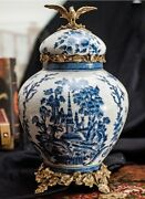 30cm European Style Chinoiserie Vase Blue And White Chinese Ginger Jar