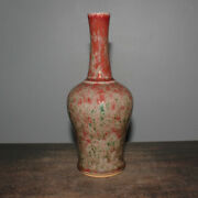 10.8 Fine Old Chinese Antique Porcelain Qing Hand Painting Green Fambe Vases