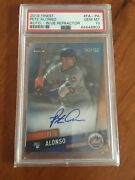2019 Topps Finest Pete Alonso Rc Auto 142/150 Blue Refractor Psa 10 Mets Pop 2