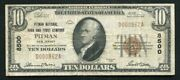 1929 10 Pitman National Bank And Trust Co. Pitman, Nj National Currency Ch 8500