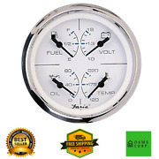 Faria Chesapeake Ss White 4 4-in-1 Combination Gauge W/fuel Oil Water And Volts