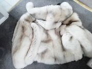 Awesome Reversible Arctic Blue Fox Fur Lined Hooded Leather Coat / Jacket
