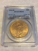 1913-d Ms63 Pcgs Saint Gaudens Double Eagle 20 Gold Coin Pq Great Appeal Obl