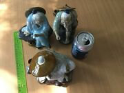 Three Chinese Mud Man Glazed Figurines Sculptures Old Man Sit Stand Fishing