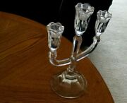 Marquise Authentic Marked Waterford Crystal 10andrdquo Tall Three Candlestick Holder
