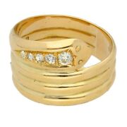 Antique 18ct Yellow Gold 0.50ct Old Cut Diamond Snake Ring Size X 12mm Widest