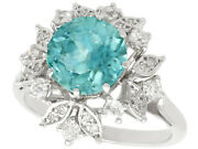 Vintage 3.84ct High Zircon And 0.32ct Diamond 18ct White Gold Dress Ring 1960s