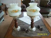 Custered Floral Glass Globe And Wooden Vintage Gwtw Style Electric Table Lamps